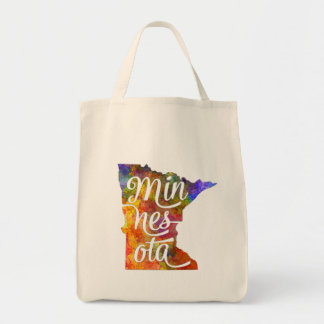Minnesota U.S. State in watercolor text cut out Tote Bag
