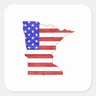 Minnesota USA flag silhouette state map Square Sticker