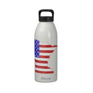 Minnesota USA flag silhouette state map Drinking Bottle