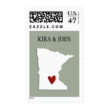 alacartepaperie Minnesota USA Map Customizable Wedding Stamp