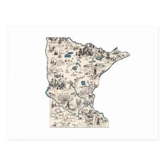Minnesota Vintage Picture Map Postcard