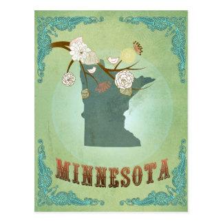 Minnesota Vintage State Map – Green Postcard