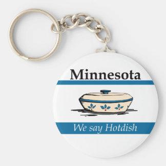 Minnesota: We Say Hotdish Basic Round Button Keychain