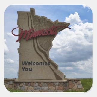 Minnesota Welcomes You Square Sticker