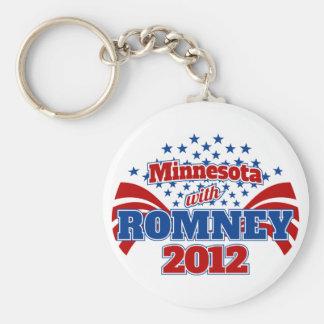 Minnesota with Romney 2012 Basic Round Button Keychain