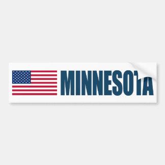 Minnesota with US Flag Bumper Sticker