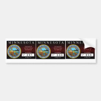 Minnesota Zombie Hunting Permit Bumper Sticker