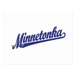 Minnetonka script logo in blue postcard