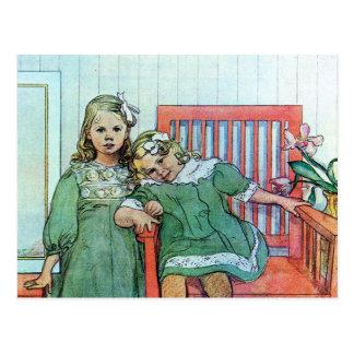 Minni un Essi Sisters Together Postcard