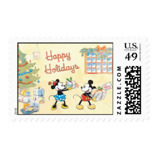 Minnie and Mickey Happy Holidays Postage Stamp