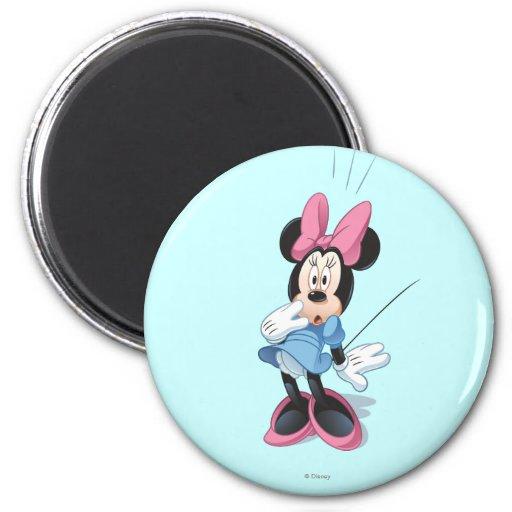Minnie azul el | sorprendido imán redondo 5 cm