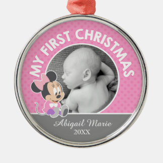 Minnie Baby's First Christmas   Add Your Name Metal Ornament