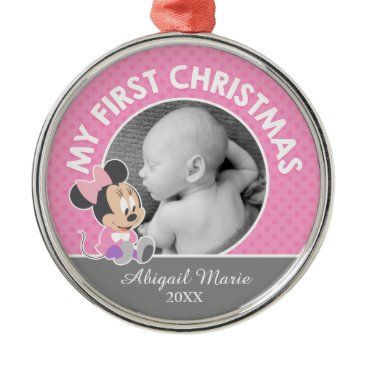 Disney Themed Minnie Baby's First Christmas | Add Your Name Metal Ornament