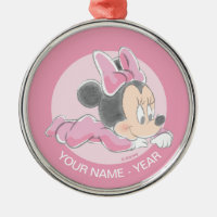 Minnie Baby's First Christmas Pink | Add Your Name Metal Ornament