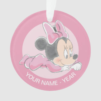 Minnie Baby's First Christmas Pink   Add Your Name Ornament