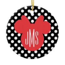 Minnie | Black and White Polka Dot Monogram Ceramic Ornament