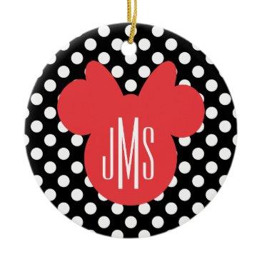 Disney Themed Minnie | Black and White Polka Dot Monogram Ceramic Ornament