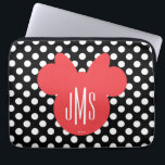 "Minnie | Black and White Polka Dot Monogram Computer Sleeve<br><div class=""desc"">Customize this Minnie Mouse Head Silhouette with your monogram.</div>"