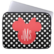 Minnie | Black and White Polka Dot Monogram Computer Sleeve