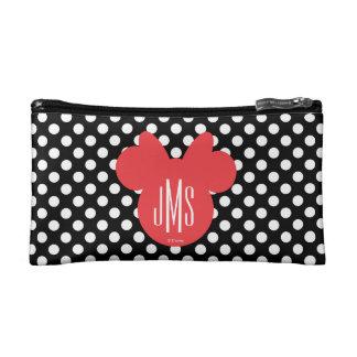 Minnie | Black and White Polka Dot Monogram Makeup Bag