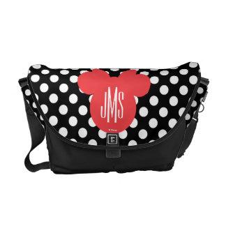 Minnie   Black and White Polka Dot Monogram Messenger Bag