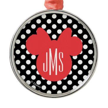 Disney Themed Minnie | Black and White Polka Dot Monogram Metal Ornament