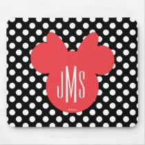 Minnie | Black and White Polka Dot Monogram Mouse Pad