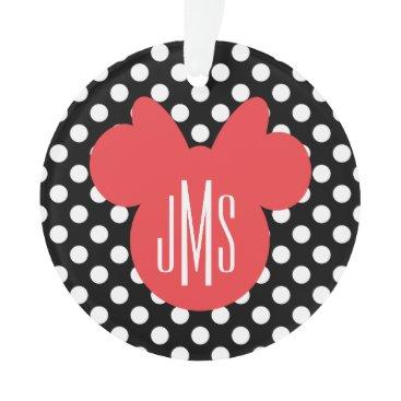 Disney Themed Minnie | Black and White Polka Dot Monogram Ornament