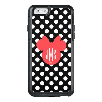 Minnie | Black And White Polka Dot Monogram Otterbox Iphone 6/6s Case by disney at Zazzle