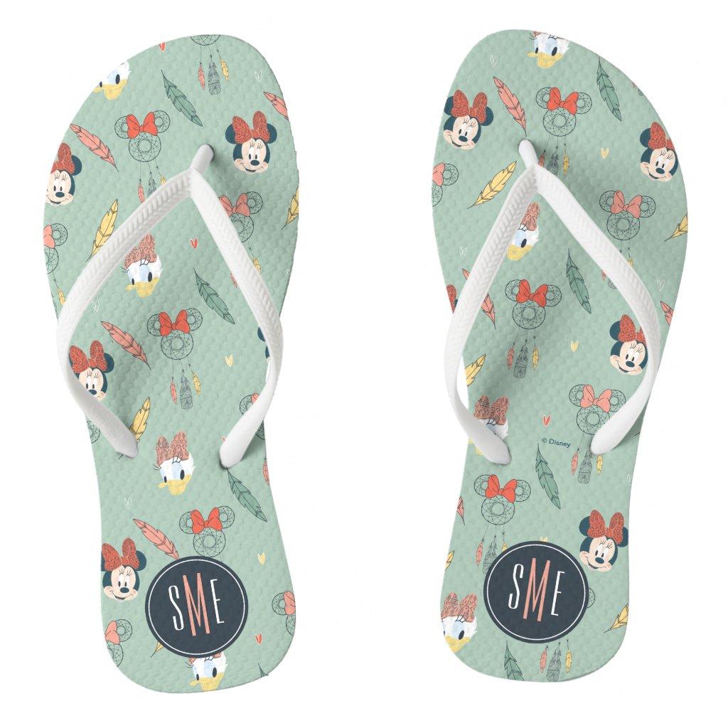 Minnie & Daisy Monogram | Dream Catcher Pattern Flip Flops