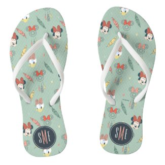 Minnie & Daisy Monogram | Dream Catcher Pattern Flip Flops