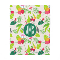 Minnie & Daisy | Tropical Pattern Monogram Fleece Blanket