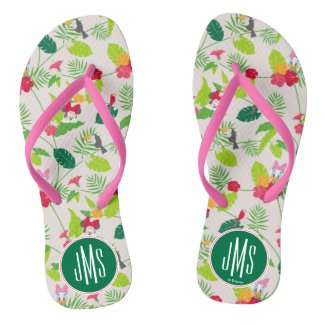 Minnie & Daisy | Tropical Pattern Monogram Flip Flops