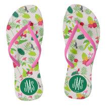 Minnie & Daisy | Tropical Pattern Monogram Flip Flops