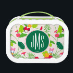 """Minnie &amp; Daisy   Tropical Pattern Monogram Lunch Box<br><div class=""""desc"""">Disney Fast Fashion - Minnie poses with Daisy in the tropics along with their feathered friends. Customize your own initials on the monogram!</div>"""