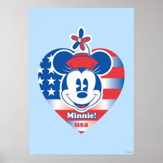 ¡Minnie! Emblema del corazón de la bandera de los Póster