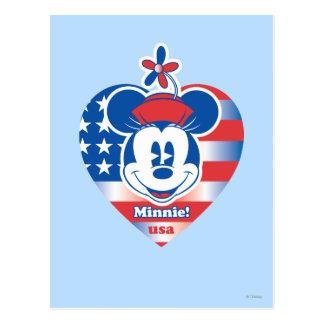 ¡Minnie! Emblema del corazón de la bandera de los Postales