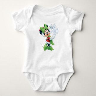 Minnie Holding Snowflake Baby Bodysuit