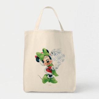 Minnie Holding Snowflake Tote Bag