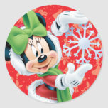 Minnie Holding Snowflake Classic Round Sticker