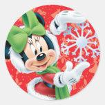 Minnie Holding Snowflake Round Stickers