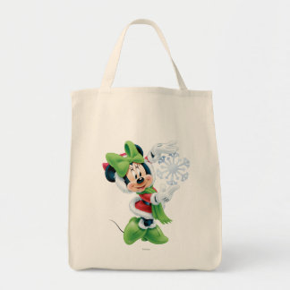 Minnie Holding Snowflake Tote Bag
