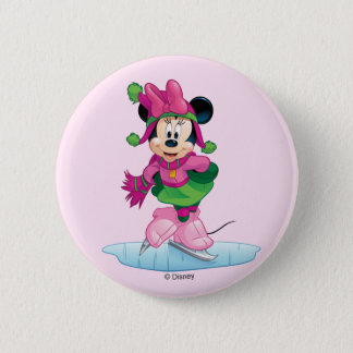 Minnie Ice Skating Pinback Button