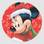 Minnie in Holiday Outfit Classic Round Sticker