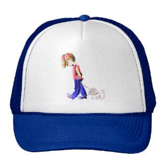 Minnie-me! Boy walking dog digital art Cap