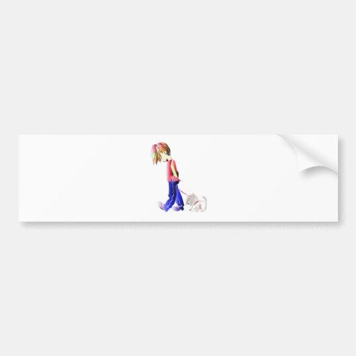 Minnie-me! Boy walking Westie Dog Art Bumper Sticker