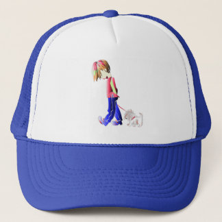 Minnie-me! Boy walking Westie Dog Art Trucker Hat