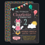 """Minnie Mouse Birthday Chalkboard Invitation<br><div class=""""desc"""">Invite all your family and friends to your child&#39;s Minnie Mouse themed Birthday Party with these chalkboard birthday invitations. Personalize by adding your party details.</div>"""