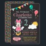 "Minnie Mouse Birthday Chalkboard Invitation<br><div class=""desc"">Invite all your family and friends to your child&#39;s Minnie Mouse themed Birthday Party with these chalkboard birthday invitations. Personalize by adding your party details.</div>"