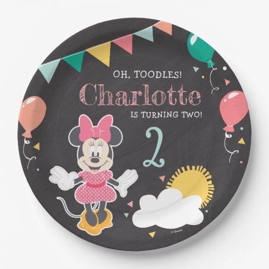 Minnie Mouse Birthday Chalkboard Paper Plate Zazzle Com